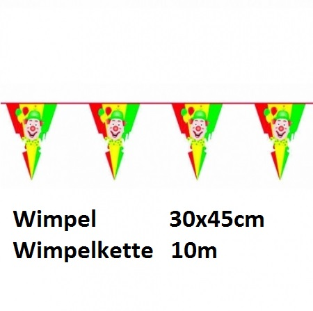 Clown Wimpelkette, 10m, ---XL---LxB-43x30cm