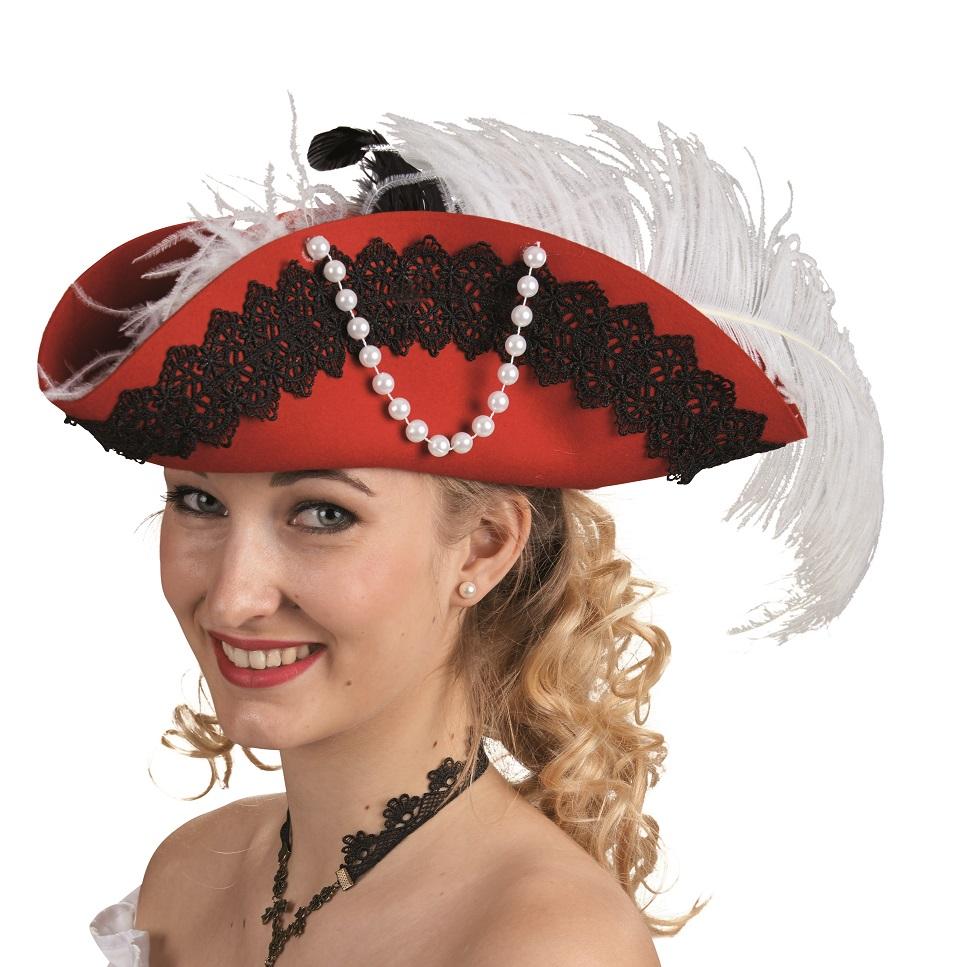 Dreispitz Hut Rot Mit Perlen Einheitsgrosse