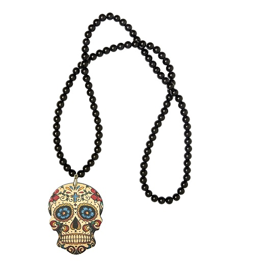 Day of the Dead Perlen Kette, schwarz/bunt
