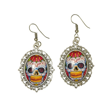 Ohrringe Day of the Dead Totenkopf, silber/bunt